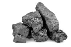 Pile of coal isolated on white Royalty Free Stock Photos