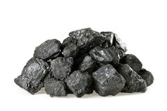 Pile of coal isolated on white Stock Photos