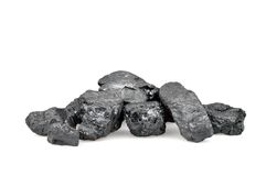 Pile of coal isolated on white royalty free stock image