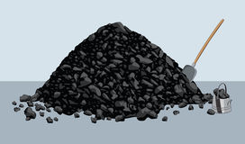 Pile of coal. With shovel and bucket Stock Images