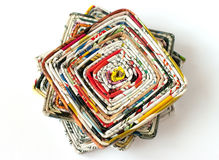 Pile of coasters made of magazines Stock Image