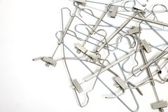 Pile of coat hangers Stock Photo