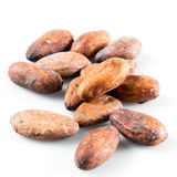 Pile of cocoa beans on white. Royalty Free Stock Photos