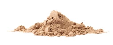 Pile of cocoa protein powder isolated. Over the white background Royalty Free Stock Photo