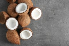 Pile of coconuts on   background. Pile of coconuts on grey background Stock Image