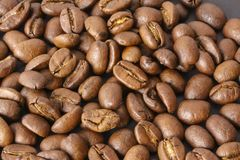 Pile of coffee beans in close up - stock royalty free stock image