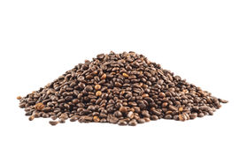 Pile of coffee beans isolated Royalty Free Stock Photography