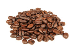 Pile of Coffee Beans Isolated on White Background Stock Image