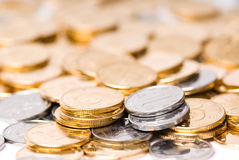 Pile of coins. On Closeup Stock Images