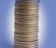 Pile of coins. Large number of coins in a big stack Stock Photography
