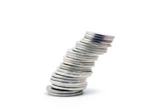 Pile of coins. Isolated on white background Royalty Free Stock Images