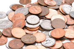 Pile of coins. A pile of U.S. (american) coins stock photo