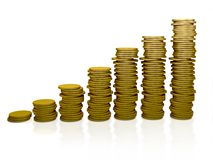 Pile of coins ascending Stock Images