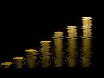 Pile of coins ascending Royalty Free Stock Photo