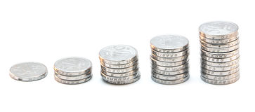 Pile of Coins Ascending Stock Photo