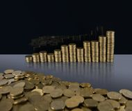 Pile of coins with a chart in the background. A pile of Euro Cent coins with a Euro Chart in the background royalty free stock image