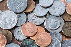 Pile of Coins. A close up shot of American coins Royalty Free Stock Image