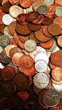 Pile of Coins. Closeup image of a pile of british coins rangin from one penny to 20 pence pieces Royalty Free Stock Image