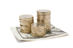 Pile of coins with dollar Royalty Free Stock Photography