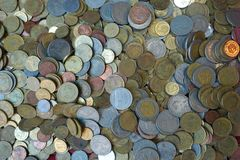 Pile of coins heap of coinssilver gold copper coin. Thai coin Stock Photos