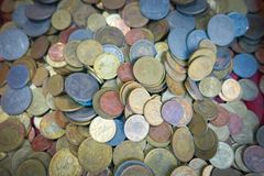 Pile of coins heap of coinssilver gold copper coin. Thai coin Stock Image