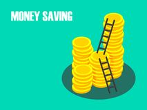 Pile of Coins with Ladder to the Top, Money Saving Concept. Pile of Coins with Ladder to the Top, Successful Management of Money Saving Concept Royalty Free Stock Photos