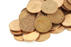 Pile of coins. A lot of coins on white background royalty free stock photos