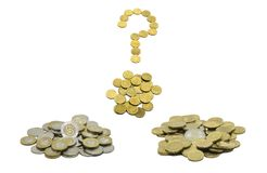 A pile of coins, the Polish currency PLN / Polish zloty and the European currency EURO with question mark composed of 10 EURO cent royalty free stock photo