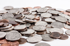 Pile of Coins. Pile of quarters, dimes, nickels and pennies Royalty Free Stock Image