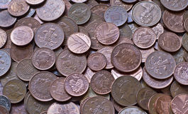 Pile of Coins background. Pile of UK  penny and pence coins Royalty Free Stock Photos