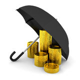 Pile of coins under a umbrella Royalty Free Stock Photo