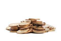 Pile of coins. On white background royalty free stock photos