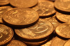 Pile of coins. Pile of yellow coins closeup Stock Photos