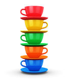 Pile from color coffee cups Stock Photo