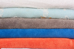 Pile Of Color Towels Background. Stock Images