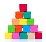 Pile of colored boxes Stock Photos