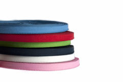 Pile of colored cotton tapes Stock Photos