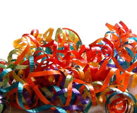 Pile of Colored Curling Ribbons. A pile of different colored curling ribbons on white background Royalty Free Stock Photo