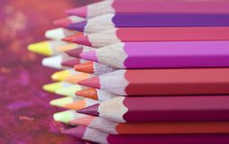 Pile of colored pencils Stock Photography