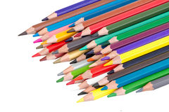 Pile of colored pencils isolated Stock Photos