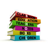 Pile of colored school books Royalty Free Stock Photos