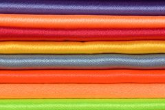 Pile of colored silk. Close-up view of pile of colored silk Stock Images
