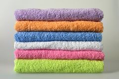 Colorful bath towels. Pile of colorful bath towels Stock Photography