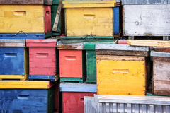 Pile of colorful beehives Stock Photography
