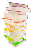 Pile of colorful books. Isolated on white royalty free stock photo