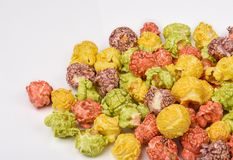 A pile of colorful caramel popcorn, still life for a holiday wit stock image