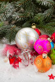 Pile of colorful christmas balls Stock Photos