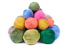 Pile of colorful clews for knitting Royalty Free Stock Photo