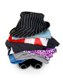 Pile of colorful clothes with a hat Royalty Free Stock Photo