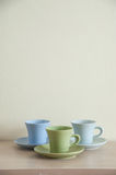 Pile of colorful coffee cups with clear background Stock Images